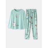 Set pigiama per la casa in vita elastica con tasca a maniche lunghe con stampa animalier da donna