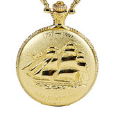 DEFFRUN Vintage Sailing Boat Pattern Quartz Pocket Watch
