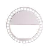 Putaran LED Ring Light Flash Lampu Klip Kamera Isi untuk Ponsel Smartphone Selfie Fotografi Siaran Langsung Siaran Tanpa Baterai