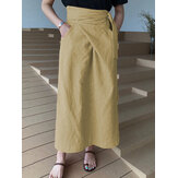 Women Cotton A-Line Casual Belted High Waist Maxi Skirts With Pocket