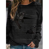 Women 3D Black Cat Print Long Sleeve Striped Casual Blouse