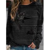 Kadın 3D Siyah Kedi Baskı Uzun Kollu Çizgili Günlük Bluz