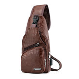 Men Leather Bag Outdoor Camping Traveling USB Charging Anti-theft Chest Cross Body Messenger Bags