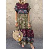 Γυναικείο Casual Loose Βαμβάκι Floral Print Κοντό μανίκι φόρεμα