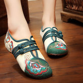 Chinese Geborduurde Bloem Mary Janes Buckle Casual Flat Loafers