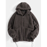 Mens Simple Solid Color Zipper Drawstring Hem Faux Fur Hooded Jacket