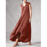 Solid Color V-neck Sleeveless Loose Casual Maxi Dresses