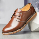 Heren Pure Color Microfiber Comfy Low Top Lace-up Business Casual Leather Shoes