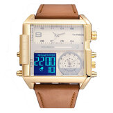 BOAMIGO F920 Fashion Men Digital Watch Creative Dial Week Month Display Chronograph 3 Time Zone Leather Strap Dual Display Watch