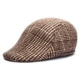 Unisex Mężczyźni Kobiety Cotton Mieszanka Gird Stripe Gazeciarz Beret Hat Duckbill Cowboy Golf Flat Cabbie Cap