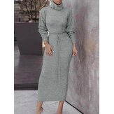 Women Knitting High Neck Pullover Top Slim Skirt Two Piece Sweater Set