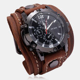 Deffrun Big Dial Vintage Cow Leather Bracelet Watch Decorate Small Three-Hand Men Quartz Watch