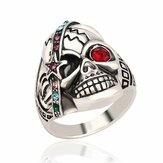 Vintage Halloween Men Jewelry Skull Head Punk Multicolor Rhinestone Ring for Men