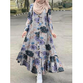 Women Cotton Floral Print Ruffles Hem Henry Neck Bohemian Long Sleeve Maxi Dress