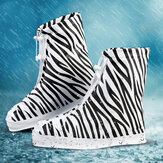 PVC Women Rain Shoes Cover Adjustable Double Layers Zebra Pattern Waterproof Rain Reusable Shoes Covers Slip-resistant Rain Boot