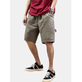 Mens Cotton Solid Color Multi Pocket Loose Drawstring Shorts