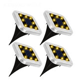 4PCS Solar Powered LED Lawn Light Square Buried Inground Recessed Lamp for Garden Outdoor Deck Path