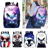 IPRee®PoliesterCartoonPlecaknalaptopa Cute Animal Dog Cat Print Tornister Plecak
