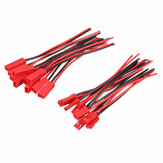 Excellway® 10 Pairs 2 Pins JST Male & Female Connectors Stikledning Wire Line 110mm Red
