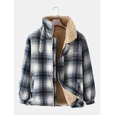 Heren geruite warme fleece gevoerde dikker zak jas met lange mouwen