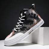 Men Ink Painting Ice Silk Canvas Comfy High Top Breathable Casual Sneakers