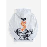 Heren Carp Back Print Ukiyoe Style Hoodies met lange mouwen en trekkoord