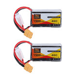 2 قطع ZOP Power 7.4V 1500mAh 40C 2S Lipo البطارية XT60 Plug
