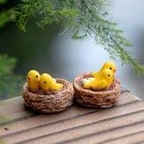 2PCS Nido de Pájaro Resina Pequeño Ornamento Moss Micro Muebles Artículos Inicio Planta Suculenta Decoración