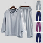 Men's Women Loose Silky Satin Pajamas Set Long Sleeve V-Neck Top Pants Sleepwear