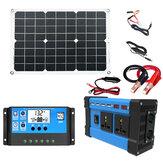 Güneş Enerjisi Üretim Sistemi Çift USB 18W Güneş Paneli + 4000W Güç Çevirici, Çift USB Şarj Bağlantı Noktaları + 30A Solar Şarj Kontrol Cihazı Güneş sistemi Seti