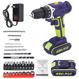 3 في 1 Hammer Drill 48V Cordless Drill Double Speed القوة Drills LED lighting 1 / 2Pcs Large سعة البطارية 50Nm 25 + 1 Torque Electric Drill