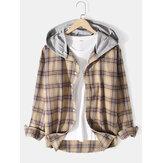 Chemises à capuche décontractées à manches longues pour hommes en coton à carreaux