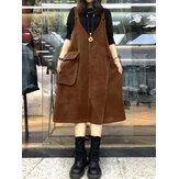 Kadın Kadife V Yaka Kolsuz Solid Retro Günlük Cepler Elbise
