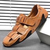 Sandálias de couro com costura à mão Menico estilo Gancho