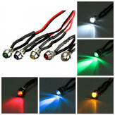 6mm 12V 5 Color LED Metal Indicator Pilot Dash Light Lamp Wire Leads For Car Truck Boat