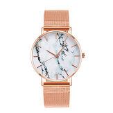 A0556 Leisure Sport Женское Часы из сплава Чехол Сетка Стандарты Регулируемая раскладывающаяся застежка Креативные мраморные кварцевые часы