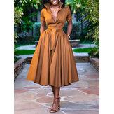 Женские однотонные складки вскользь Рубашка Платье с поясом