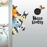 الكرتون ملصقات الحائط لطيف الحيوانات a برو-الأخضر غرفة المعيشة أريكة نشرت الأطفال غرفة لصق