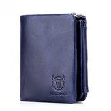 Bullcaptain Genuine Leather Zipper Coin Bag Wallet