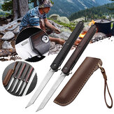 XANES® M390 Steel Folding Long Knife Multi EDC Tactical Survival Tools with Holster Wooden Handle Portable Pocket for Outdoor Camping Picnic Hunting Fishing
