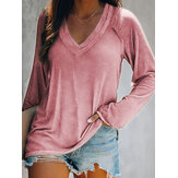 Women Solid Color V-neck Raglan Long Sleeve Casual T-shirt