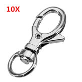 10Pcs 32mm Silver Zinc Alloy Oval Swivel Lobster Claw Clap Snap Gancho com 8.5mm Round Ring
