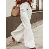 Women Solid Color Button Down Front Office Casual Wide-legged Pants