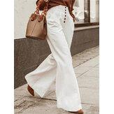Mujeres Color sólido Botones de oficina delantera Casual de pierna ancha Pantalones