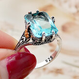 Vintage S925 Square Highland Topaz Finger Ring Geometric Hollow Flower Ring