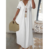 Holiday Lace Design V-neck Short Sleeve Casual Maxi Dress