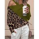 Leopard Print Patch Off Shoulder Causal Blouse