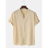 Bomuld Herre Ensfarvet V-Neck Button Up Stand krave Kortærmet skjorter