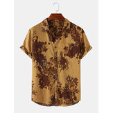 Mens Floral Print Vintage Holiday Casual Button Up Lapel Short Sleeve Shirt