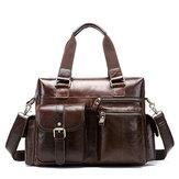 Men Genuine Leather Vintage Travel Business Handbag